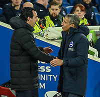 Arsenal Head Coach Unai Emery (left)  and Brighton & Hove Albion manager Chris Hughton (right) <br /> <br /> Photographer David Horton/CameraSport<br /> <br /> The Premier League - Brighton and Hove Albion v Arsenal - Wednesday 26th December 2018 - The Amex Stadium - Brighton<br /> <br /> World Copyright © 2018 CameraSport. All rights reserved. 43 Linden Ave. Countesthorpe. Leicester. England. LE8 5PG - Tel: +44 (0) 116 277 4147 - admin@camerasport.com - www.camerasport.com
