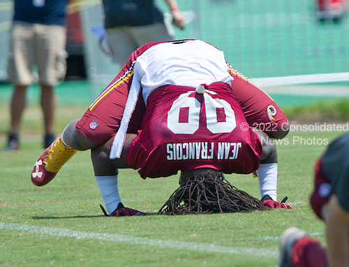 Washington Redskins defensive end Ricky Jean Francois (99)  participates in drills during the Veteran Minicamp at Redskins Park in Ashburn, Virginia on Tuesday, June 14, 2016.<br /> Credit: Ron Sachs / CNP