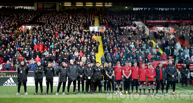 Sheffield Utd players and staff line up for a minutes silence during the Emirates FA Cup Round One match at Bramall Lane Stadium, Sheffield. Picture date: November 6th, 2016. Pic Simon Bellis/Sportimage