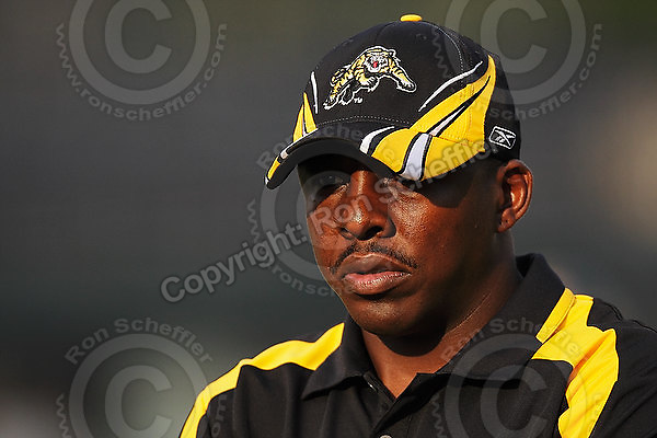 July 31, 2009; Hamilton, ON, CAN; Hamilton Tiger-Cats offensive assistant/running backs coach Travis Moore. CFL football: BC Lions vs. Hamilton Tiger-Cats at Ivor Wynne Stadium. The Tiger-Cats defeated the Lions 30-18. Mandatory Credit: Ron Scheffler. Copyright (c) 2009 Ron Scheffler.