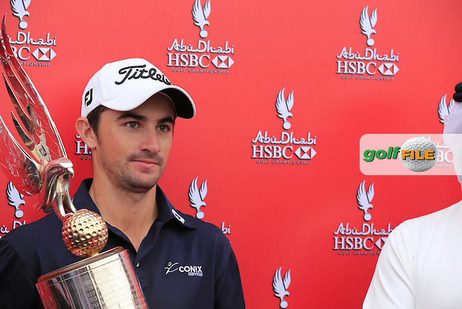 Gary Stal (FRA) wins the tournament by 1 shot after Sunday's Final Round of the Abu Dhabi HSBC Golf Championship 2015 held at the Abu Dhabi Golf Course, United Arab Emirates. 18th January 2015.<br /> Picture: Eoin Clarke www.golffile.ie