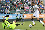 28 April 2012: San Antonio's Pablo Campos (BRA) (right) is defended by Carolina's Ray Burse (18). The San Antonio Scorpions defeated the Carolina RailHawks 1-0 at WakeMed Soccer Stadium in Cary, NC in a 2012 North American Soccer League (NASL) regular season game. It was the first win for the expansion team from San Antonio.