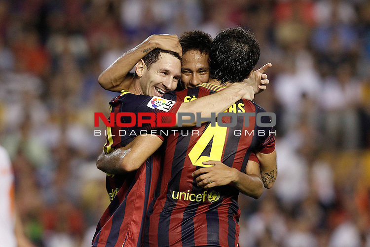 FC Barcelona's Leo Messi, Neymar Santos Jr and Cesc Fabregas celebrate goal during La Liga match.September 1,2013. Foto © nph / Acero)