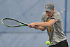 Chris Neary of St. Anthony's returns a volley in the second doubles match of the NSCHSAA varsity boys tennis team championship against Chaminade at Hofstra University on Tuesday, May 10, 2016. Sangirardi won the match to help Chaminade to the league title.
