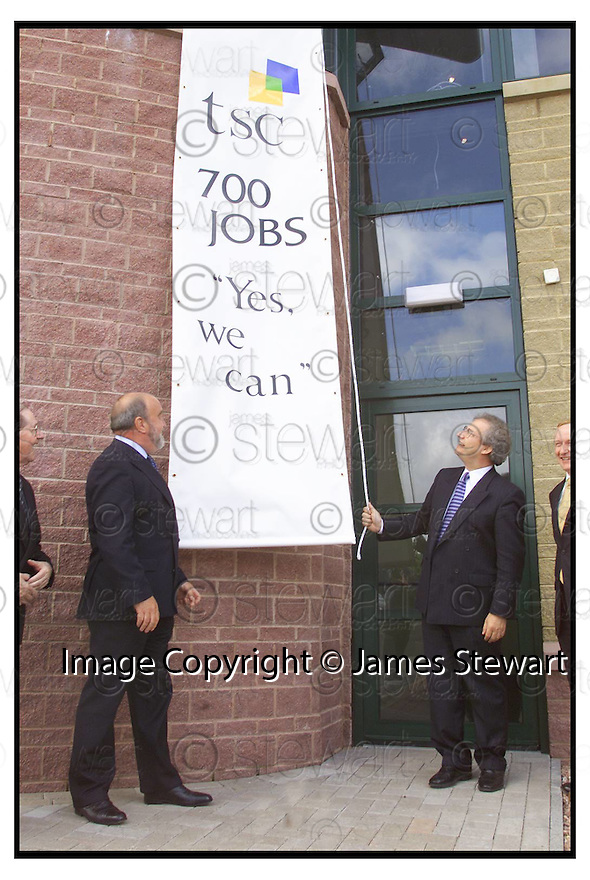 7th June 2000            Copyright Pic : James Stewart .Ref :                           .File Name : stewart07-tsc call centre                        .HENRY MCLEISH AND LENNIUW MOFFAT (left), MANAGING DIRECTOR OF TSC, AT THE LAUNCH OF THE NEW CALL CENTRE IN FALKIRK.....Payments to :-.James Stewart Photo Agency, Stewart House, Stewart Road, Falkirk. FK2 7AS      Vat Reg No. 607 6932 25.Office : 01324 630007        Mobile : 0421 416997.E-mail : jim@jspa.co.uk.           : jim@jamesstewart.co.uk.If you require further information then contact Jim Stewart on any of the numbers above.........