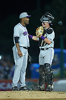 Winston-Salem Dash catcher Evan Skoug (19) has a chat on the mound with relief pitcher Jose Nin (32) during the game against the Myrtle Beach Pelicans at TicketReturn.com Field on May 16, 2019 in Myrtle Beach, South Carolina. The Dash defeated the Pelicans 6-0. (Brian Westerholt/Four Seam Images)