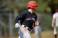 Ball State Cardinals second baseman Noah Navarro (8) runs to first base during a game against the Saint Joseph's Hawks on March 9, 2019 at North Charlotte Regional Park in Port Charlotte, Florida.  Ball State defeated Saint Joseph's 7-5.  (Mike Janes/Four Seam Images)