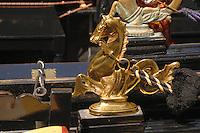 Mascot  of horse on a gondala, Venice, Italy.