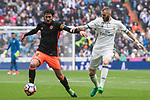 Daniel Parejo Munoz (l) of Valencia CF fights for the ball with Karim Benzema of Real Madrid during their La Liga match between Real Madrid and Valencia CF at the Santiago Bernabeu Stadium on 29 April 2017 in Madrid, Spain. Photo by Diego Gonzalez Souto / Power Sport Images