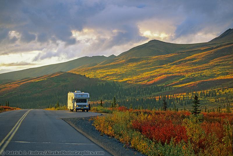 RV on the Denali Park Road, Denali National Park, Alaska.