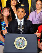 United States President Barack Obama delivers a statement on the need for Congress to act to extend tax cuts for middle class families in the East Room of the White House in Washington, D.C. on Monday, July 9, 2012..Credit: Ron Sachs / Pool via CNP