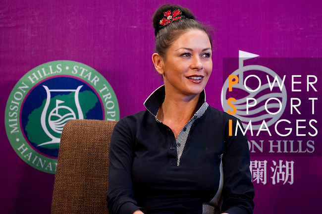 HAIKOU, CHINA - OCTOBER 28:  Oscar-winning actress Catherine Zeta-Jones attends a press conference during the Mission Hills Star Trophy on October 28, 2010 in Haikou, China. The Mission Hills Star Trophy is Asia's leading leisure liflestyle event and features Hollywood celebrities and international golf stars.  Photo by Victor Fraile / The Power of Sport Images