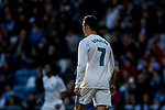 Cristiano Ronaldo of Real Madrid looks on during the La Liga 2017-18 match between Real Madrid and RC Deportivo La Coruna at Santiago Bernabeu Stadium on January 21 2018 in Madrid, Spain. Photo by Diego Gonzalez / Power Sport Images