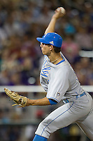 UCLA Bruin pitcher James Kaprielian (11) delivers a pitch to the plate during Game 4 of the 2013 Men's College World Series against the LSU Tigers on June 16, 2013 at TD Ameritrade Park in Omaha, Nebraska. UCLA defeated LSU 2-1. (Andrew Woolley/Four Seam Images)