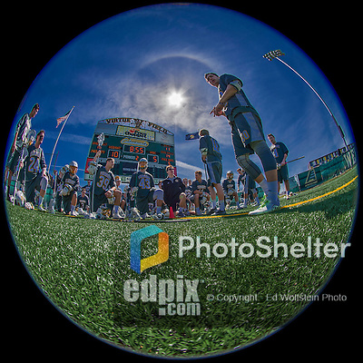 16 April 2016: With the halftime score set at 10-5 for the University of Vermont Catamounts, the UVM Men's Lacrosse team rests below the scoreboard prior to the second half of play against the University of Maryland, Baltimore County Retrievers at Virtue Field in Burlington, Vermont. The Catamounts went on to defeat the visiting Retrievers 14-10 in NCAA Division I action. Mandatory Credit: Ed Wolfstein Photo *** RAW (NEF) Image File Available ***