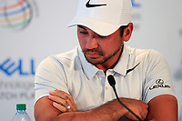 Jason Day (AUS) breaks down in tears in the media centre after pulling out of the tournament, and announces that is mother is suffering with lung cancer and is due to under go surgery on friday. The very emotional Day told the gathered media that he did not want them wondering if its was was his back, he just wants to be there for his mother, the abrupt press conference happened as day withdrew during the 1st round at the WGC Dell Technologies Matchplay championship, Austin Country Club, Austin, Texas, USA. 22/03/2017.<br /> Picture: Golffile | Fran Caffrey<br /> <br /> <br /> All photo usage must carry mandatory copyright credit (&copy; Golffile | Fran Caffrey)