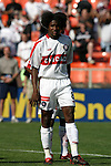 24 April 2004: Damani Ralph shows off his new hairstyle during player introductions. The Chicago Fire defeated DC United 1-0 at RFK Stadium in Washington, DC on opening day of the regular season in a Major League Soccer game..