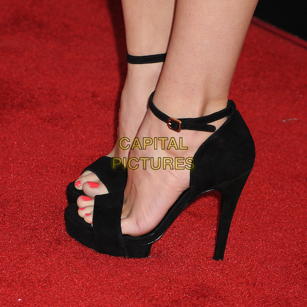 Autumn Reeser's shoes .Lucky Magazine's FABB Cocktail Party held at the SLS Hotel,  Los Angeles, California, USA, 4th April 2013..detail foot feet black platform heels sandals ankle strap open toe high red pedicure toes toe nails .CAP/ADM/BP.©Byron Purvis/AdMedia/Capital Pictures.