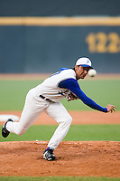 20 August 2007: Pitcher #10 Samuel Meurant pitches during the Czech Republic 6-1 victory over France in the Good Luck Beijing International baseball tournament (olympic test event) at the Wukesong Baseball Field in Beijing, China.