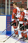 Marty O'Grady (RPI - 27), Chase Polacek (RPI - 21) - The visiting Rensselaer Polytechnic Institute Engineers tied their host, the Northeastern University Huskies, 2-2 (OT) on Friday, October 15, 2010, at Matthews Arena in Boston, MA.
