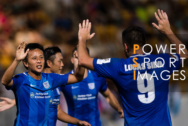 Lucas da Silva SC Kitchee (R) celebrating a score with SC Kitchee Forward Kwan Yee Lo (L) during the week two Premier League match between Kitchee and Dreams FC at on September 10, 2017 in Hong Kong, China. Photo by Marcio Rodrigo Machado / Power Sport Images