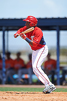 GCL Nationals center fielder Darryl Florentino (31) squares to bunt during a game against the GCL Astros on August 14, 2016 at the Carl Barger Baseball Complex in Viera, Florida.  GCL Nationals defeated GCL Astros 8-6.  (Mike Janes/Four Seam Images)