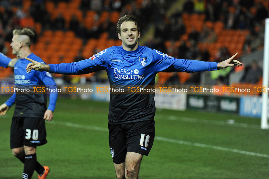 Brett Pitman of Bournemouth celebrates scoring his penalty and putting his side four nil up - Blackpool vs AFC Bournemouth - Sky Bet Championship Football at Bloomfield Road, Blackpool, Lancashire - 20/12/14 - MANDATORY CREDIT: Greig Bertram/TGSPHOTO - Self billing applies where appropriate - contact@tgsphoto.co.uk - NO UNPAID USE