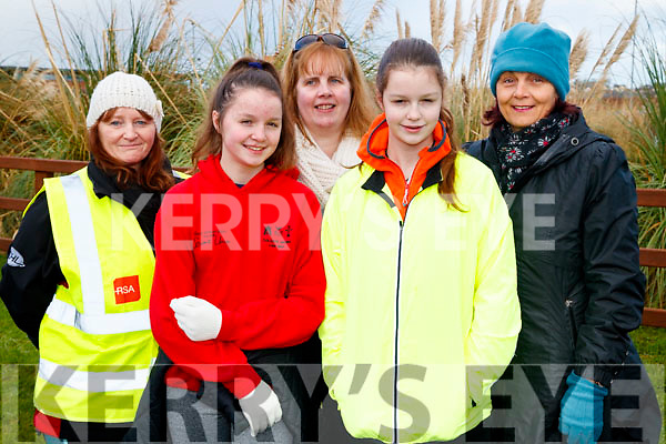 Brenda Duffin (Leith, Tralee), Aine Foley (Inch), Elizabeth O'Dwyer (Killorglin) with Fidelus Foley and Brid Foley (Inch), pictured at the Operation Transformation Walk at Tralee Bay Wetlands on Saturday morning last.