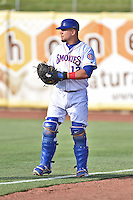 Tennessee Smokies catcher Kyle Schwarber (12) before a game against the Mobile BayBears on May 27, 2015 in Kodak, Tennessee. The Smokies defeated the BayBears 3-2. (Tony Farlow/Four Seam Images)