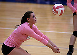 Marymount's Erin Allison passes during a college volleyball match against Shenandoah at Marymount University in Arlington, Vir., on Tuesday, Oct. 8, 2013.<br /> Photo by Cathleen Allison