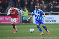 Blackpool's Liam Feeney under pressure from Fleetwood Town's Danny Andrew<br /> <br /> Photographer Kevin Barnes/CameraSport<br /> <br /> The EFL Sky Bet League One - Fleetwood Town v Blackpool - Saturday 7th March 2020 - Highbury Stadium - Fleetwood<br /> <br /> World Copyright © 2020 CameraSport. All rights reserved. 43 Linden Ave. Countesthorpe. Leicester. England. LE8 5PG - Tel: +44 (0) 116 277 4147 - admin@camerasport.com - www.camerasport.com