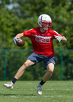 NWA Democrat-Gazette/BEN GOFF @NWABENGOFF<br /> Payton Byerley, Glendale (Mo.) receiver, runs after a catch vs Harrison Thursday, July 11, 2019, during the Border Battle 7-on-7 Tournament, in partnership with the Pro Football Hall of Fame Scholastic 7v7 series, at Branson (Mo.) High School's Pirates Stadium.