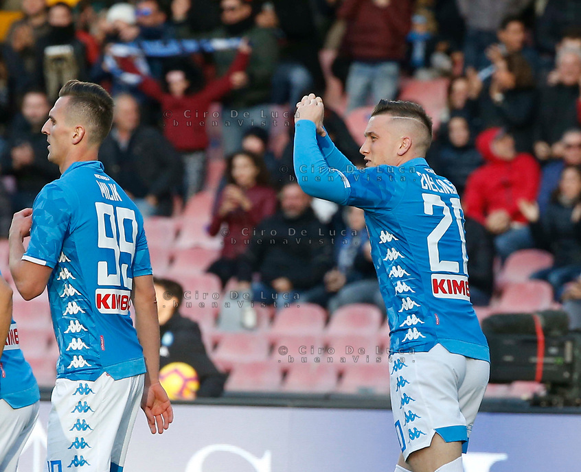 Piotr Zielinski of Napoli celebrates after scoring during the  italian serie a soccer match,  SSC Napoli - Frosinone       at  the San  Paolo   stadium in Naples  Italy , December 08, 2018