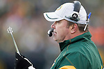 Green Bay Packers Head Coach Mike McCarthy calls a play during a Week 11 NFL football game against the Tampa Bay Buccaneers on November 20, 2011 in Green Bay, Wisconsin. The Packers won 35-26. (AP Photo/David Stluka)
