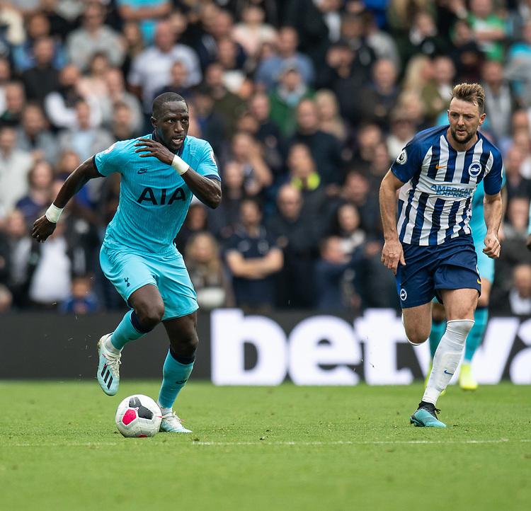 Tottenham Hotspur's Moussa Sissoko (left) under pressure from Brighton & Hove Albion's Dale Stephens (right) <br /> <br /> Photographer David Horton/CameraSport<br /> <br /> The Premier League - Brighton and Hove Albion v Tottenham Hotspur - Saturday 5th October 2019 - The Amex Stadium - Brighton<br /> <br /> World Copyright © 2019 CameraSport. All rights reserved. 43 Linden Ave. Countesthorpe. Leicester. England. LE8 5PG - Tel: +44 (0) 116 277 4147 - admin@camerasport.com - www.camerasport.com