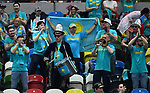 The Kazakhstan fans with their drums and trumpet. Rubber 1. World group II play off in the BNP Paribas Fed Cup. Copper Box arena. Queen Elizabeth Olympic Park. Stratford. London. UK. 20/04/2019. ~ MANDATORY Credit Garry Bowden/Sportinpictures - NO UNAUTHORISED USE - 07837 394578