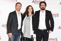 "Michael Fassbender, Marion Cotillard and director, Justin Kurzel<br /> at the ""Assassin's Creed"" photocall in Claridges Hotel London.<br /> <br /> <br /> ©Ash Knotek  D3211  08/12/2016"