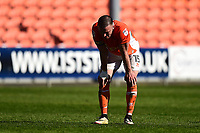 Blackpool's Tom Aldred looks dejected<br /> <br /> Photographer Richard Martin-Roberts/CameraSport<br /> <br /> The EFL Sky Bet League Two - Blackpool v Grimsby Town - Saturday 8th April 2017 - Bloomfield Road - Blackpool<br /> <br /> World Copyright &copy; 2017 CameraSport. All rights reserved. 43 Linden Ave. Countesthorpe. Leicester. England. LE8 5PG - Tel: +44 (0) 116 277 4147 - admin@camerasport.com - www.camerasport.com