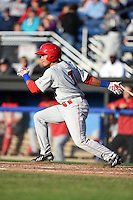 Auburn Doubledays second baseman Bryan Mejia (1) at bat during a game against the Batavia Muckdogs on June 14, 2014 at Dwyer Stadium in Batavia, New York.  Batavia defeated Auburn 7-2.  (Mike Janes/Four Seam Images)
