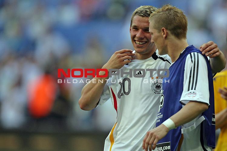 FIFA WM 2006 -  Round of Sixteen - / Viertelfinale <br /> Play    #49 (24-Jun) - Deutschland - Schweden<br /> <br /> Die jungen Wilden unter sich, Bastian Schweinsteiger und Matchwinner mit zwei Toren Lukas Podolski<br /> <br /> Foto &copy; nordphoto