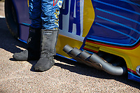 Apr 23, 2017; Baytown, TX, USA; Detailed view of the fire boots of NHRA funny car driver Ron Capps during the Springnationals at Royal Purple Raceway. Mandatory Credit: Mark J. Rebilas-USA TODAY Sports