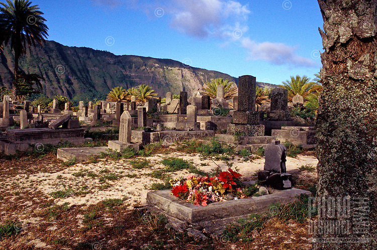 An old cemetery with the remains of leprosy victims at the historic leprosy settlement at Kalaupapa on the island of Molokai.