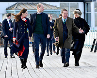 04/02/2020 - Prince William Duke of Cambridge and Kate Middleton, Duchess of Cambridge walk along the pier during a visit to the RNLI Mumbles Lifeboat Station, near Swansea in south Wales. Photo Credit: ALPR/AdMedia