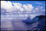 MAY 2000    -  Teahupoo, Tahiti   -  An empty wave as a surfer watches Teahupoo the worlds heaviest left..
