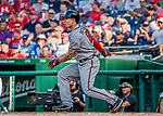 8 July 2017: Atlanta Braves infielder Jace Peterson pinch hits in the 8th inning against the Washington Nationals at Nationals Park in Washington, DC. The Braves shut out the Nationals 13-0 to take the third game of their 4-game series. Mandatory Credit: Ed Wolfstein Photo *** RAW (NEF) Image File Available ***
