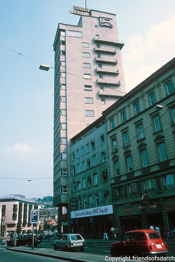 Stuttgart: Stuttgarter Tagblatt Turm 1924, 1927-28. 61 meters, one of the first Hochhaus in Germany. Ernst Otto Osswald.