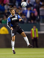 San Jose Earthquakes forward Chris Wondolowski (8) heads a ball. CD Chivas USA defeated the San Jose Earthquakes 3-2 at Home Depot Center stadium in Carson, California on Saturday April 24, 2010.  .