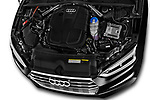 Car stock 2018 Audi A5 Sportback Premium Plus  5 Door Hatchback engine high angle detail view