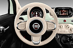 Car pictures of steering wheel view of a 2016 Fiat 500 Lounge 3 Door Hatchback Steering Wheel