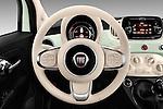 Car pictures of steering wheel view of a 2016 Fiat 500 Lounge 3 Door Hatchback Steering Wheel